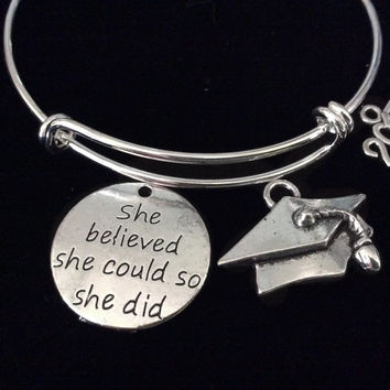 She Believed Graduation 2017 Expandable Silver Charm Bracelet Adjustable Bangle Trendy Gift Meaningful Inspirational