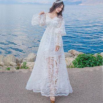 Women Lolita Sheer Embroidery seashore vintage fairy long maxi dress medieval dress Renaissance Gown princess Victorian dress
