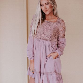 Cadence Floral Lace Long Sleeve Dress - Mauve