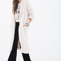 FOREVER 21 Faux Fur Duster Coat Blush