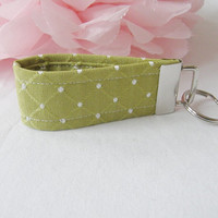 Ready To Ship Citrus Green and White Key Fob Wristlet Key Chain OOAK