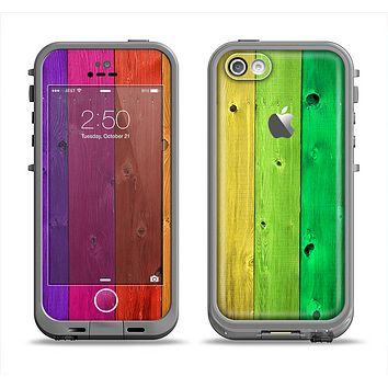 The Rainbow Highlighted Wooden Planks Apple iPhone 5c LifeProof Fre Case Skin Set