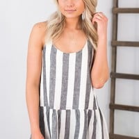 Striped Peplum Tank- Black/White