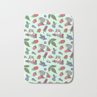 Guinea Pig Pattern in Mint Green Background with mix berries Bath Mat by noristudio