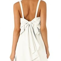 Shein Womens Ruffle White Strap Bow Dress