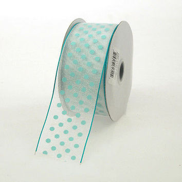 Polka Dot Sheer Organza Ribbon Wired Edge, 1-1/2-inch, 10-yard