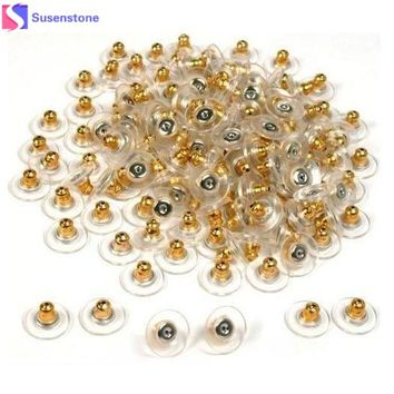 50pcs Gold Tone Hypo Allergenic Bullet Clutch Earring Backs Plastic With Pad