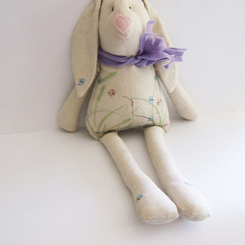 Soft Bunny. Easter bunny-rabbit. Stuffed bunny. Kids stuffed rag bunny. Stuffed cloth  bunny. Handmade.  Nursery Decor. Baby Shower