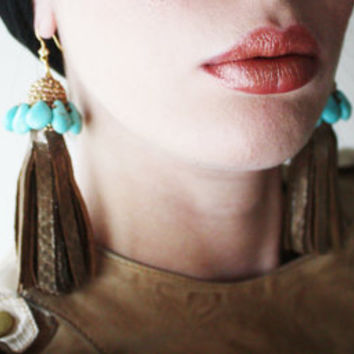 Bronze Leather Tassel Earrings with Turquoise Beads