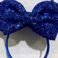 Minnie Mouse Ears Headband Blue Sparkle Mickey Mouse Ears, Disneyland
