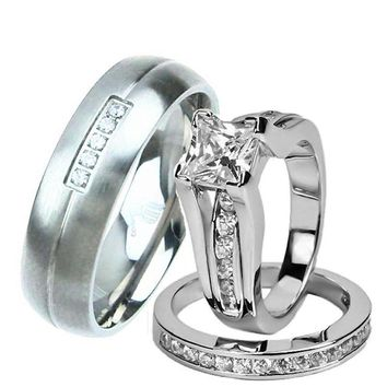 His Her Wedding Ring Set Sterling Silver Titanium