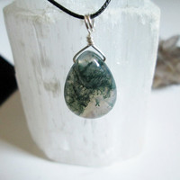 Moss Agate Teardrop Gemstone Simple Pendant Necklace, hand wire wrapped, crystal healing jewelry, vegan