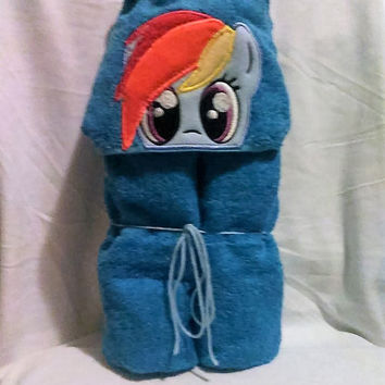 My Little Pony Hooded Towel Rainbow Dash Baby or Child Gift Personalized Hooded Towels Teen or Adult Hooded Towel Custom Hooded Towel Pony