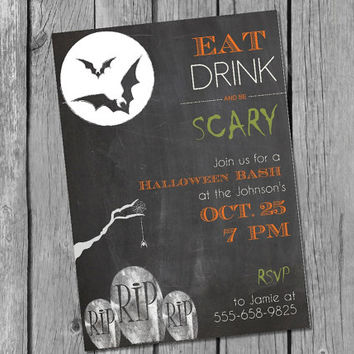 Printable Chalkboard Halloween Graveyard Invitation