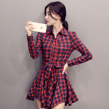 Korean Classics Plaid Long Sleeve Slim One Piece Dress [9882726415]