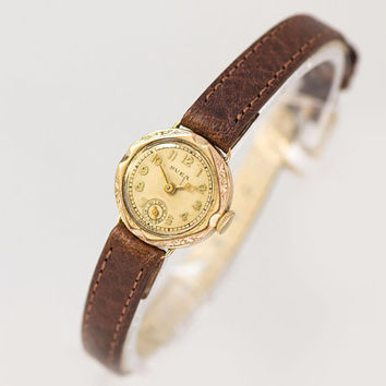 Antique women watch gold plated SVEA, art deco Swiss made watch floral case, mechanical watch for women unique, premium leather strap new