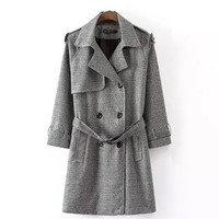 Gray Plaid Double-Breasted Lapel Coat