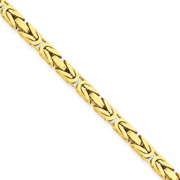 3.25mm, 14k Yellow Gold, Solid Byzantine Chain Necklace, 24 Inch
