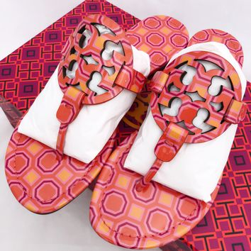 Tory Burch Miller Sandals Flip Flop Vivid Orange Sqaure Coral Pink 7 7.5 8 8.5 10