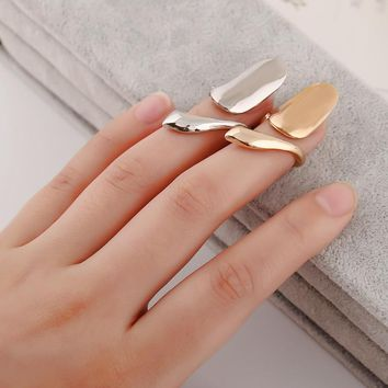 2017 New Arrival Fashion Creative Metallic Cute Finger Tip Nail Rings Women Party Jewelry Gold/Silver Plating Alloy Nail Rings