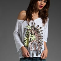 LAUREN MOSHI Color Tribal Horse Barbie Crop Tee in White at Revolve Clothing - Free Shipping!