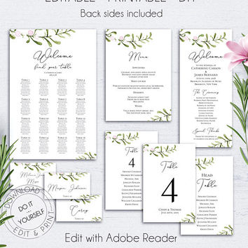 Floral Wedding Reception Set, Wedding Menu, Wedding Place Card, Wedding Program Template, Table Numbers,Seating Chart,Wedding Set,Watercolor
