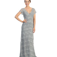 Silver Tiered Lace Cap Sleeve Gown