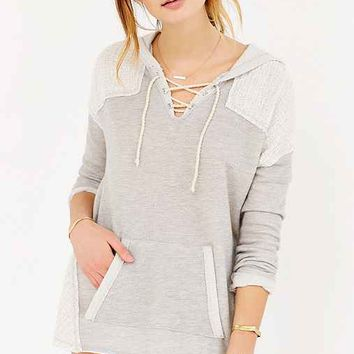 Sloane Rogue Knit-Mix Hooded Top- Grey
