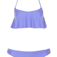 Bluebell Frill Crop Bikini Top and Ruche Pants - Swimwear  - Clothing  - Topshop Europe