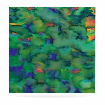 "Miranda Mol ""Dreamy Clouds"" Green Teal Abstract Fantasy Watercolor Painting Luxe Square Panel"