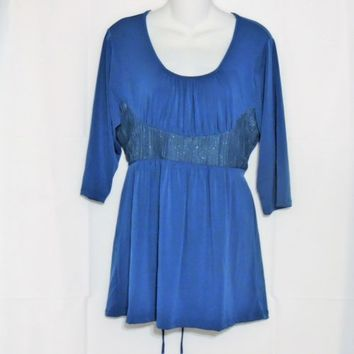 BC Tunic Top Plus Size 2X Blue New