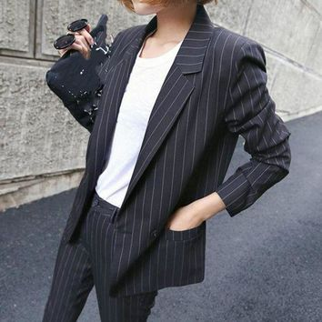 ICIKON3 Womens business suitstyle british retro casual striped ladies suit  lady professional two piece sets