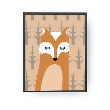 Fox Poster, Nursery Decor, Cute Artwork, Children Gift, Kids Print, Animal Illustration, Kids Room Decor, Kids Education, Classroom Decor