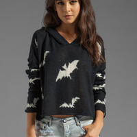 Wildfox Couture White Label Bats Hooded Billy Sweater in Black