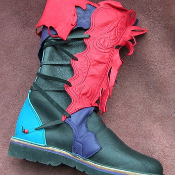 Leather Boots Handmade Shoes - Cowhide  & Deer Skin, Red Turquoise Blue Purple Black, Custom Made Size 5, 6, 7, 8, 9, 10