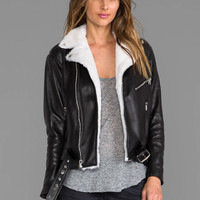 Laer Classic Leather Moto Jacket with Shearling in Black