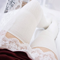 Misha Knitted Thigh High Socks (Ivory)