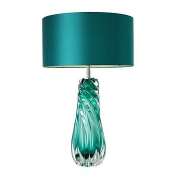 TEAL BLOWN GLASS TABLE LAMP | EICHHOLTZ BARRON