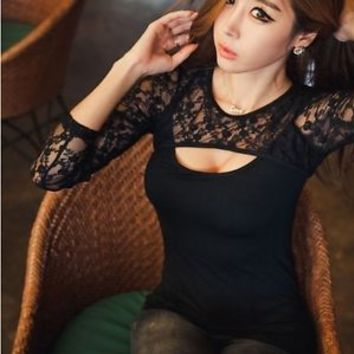 Women's Long Sleeve Sheer Lace TShirt Blouse Tops  clubwear Cocktail Dress New