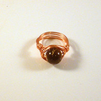 BLAZING - Brown Marbleized Ring Wrapped in Copper Wire. Blaze onto the Scene Like Only You Know How to Do