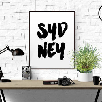 Sydney Typography Decor Art Print Wall Art Travel Poster Australia Poster Typographic Print Monochrome Art Black and White Art Home Decor