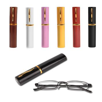 NEW Reading Glasses Rimmed Slim Unisex With Tube Case +1.5+2.0+2.5+3.0+3.5 4.0