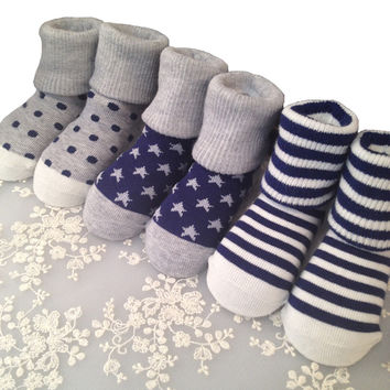 New 12 pair Suitable for 6 Month-5 Year Cute Striped dots stars pattern Socks Baby Infant Newborn Socks Winter 100% Cotton Sock