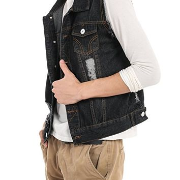 Men's Fashion Sleeveless Lapel Denim Vest Jacket