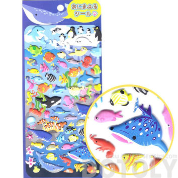 Turtles shaped sea creatures themed puffy stickers for scrapbooking