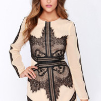 Rorschach Test Beige and Black Long Sleeve Dress
