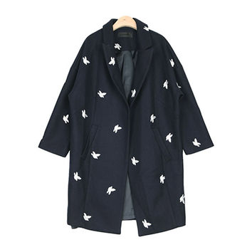 Bird Embroidered Woolen Boxy Coat