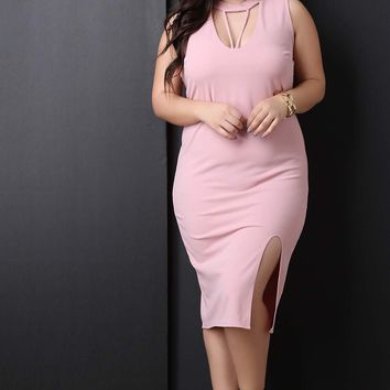 Form Fitting Strappy Caged Sleeveless Midi Dress
