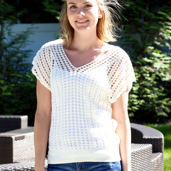 Open Stitch Sweater in Ivory