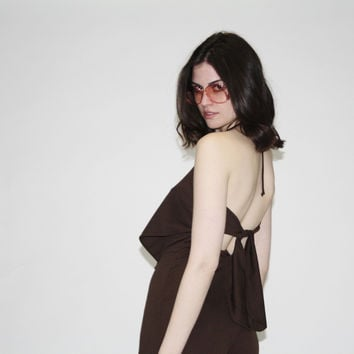 Vintage 1970s Brown Backless Halter Jumpsuit with Bellbottoms
